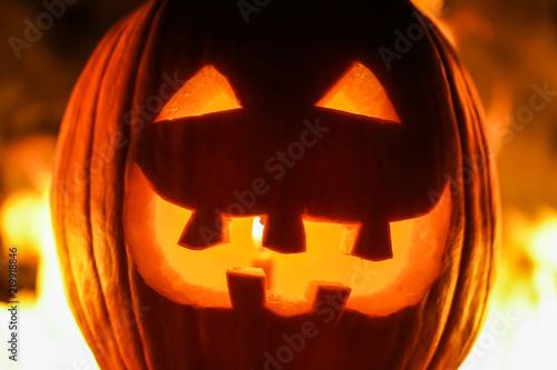 Frightful Symbol Of Halloween Jack O Lantern Smiling Head Of