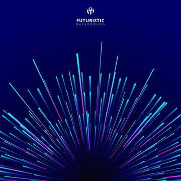 Abstract futuristic technology geometric circular geometric centric motion pattern.