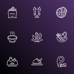 Eating icons line style set with vegan food, onion rolls, kitchen scales and other harvest