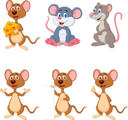 Cartoon funny mouse collection set