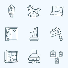 Decor icons line style set with wall picture, shower, cuckoo clock and other photos  elements. Isolated vector illustration decor icons.