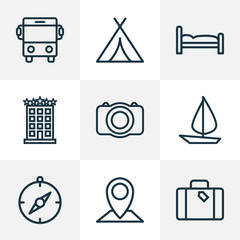 Journey icons line style set with tent, photo camera, hotel and other building 