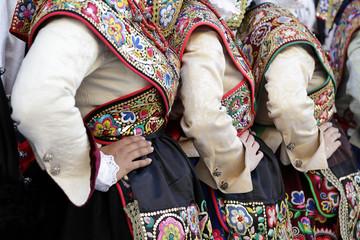 Three women wearing one of the folk costume of Zamora, Spain