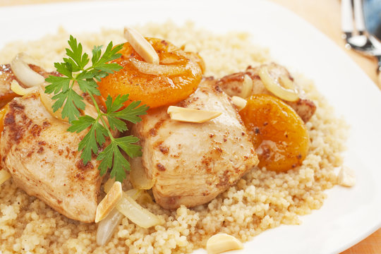 Stew Chicken Apricot Tagine with Couscous