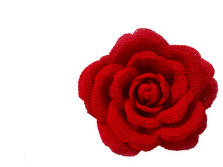 Close up Crochet Rose handmade on white background