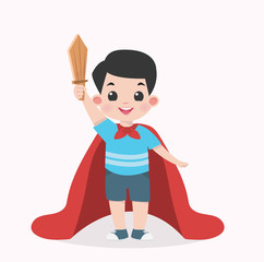 Kid Boy with a wooden sword and a cape