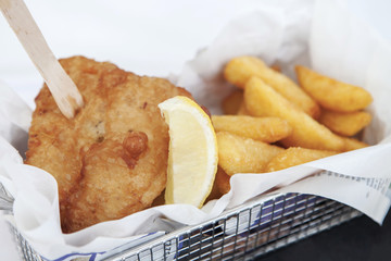 Fish and chips, served in paper