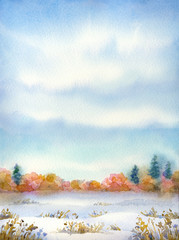 """Watercolor landscape of series of """"Steppe in different seasons."""""""