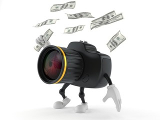 Camera character catching money