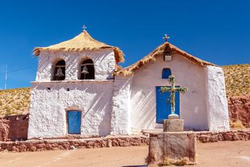 Typical chilean church of the village of Machuca near San Pedro de Atacama, Chile