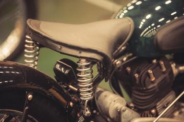 Vintage motorcycle leather saddle