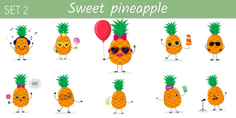 A set of ten cute pineapples characters in different poses and accessories in cartoon style.