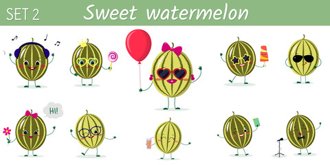A set of ten cute watermelon characters in different poses and accessories in cartoon style.