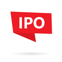 IPO (Initial Public Offering) on a speach bubble- vector illustration