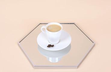 Stylish morning coffee setup. Creative minimal concept.