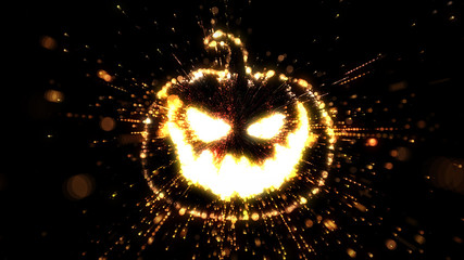 Glowing  Halloween Jack O'Lantern with fire and sparks