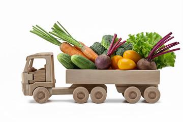 Printed roller blinds Vegetables Variety of fresh vegetables in toy wooden truck.