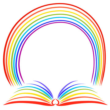 Colorful round frame in the form of a book with a heart and a rainbow