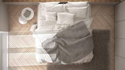 White Minimalist Bedroom With Parquet Floor, Fur Carpet And Soft Blanket,  Modern Architecture Interior