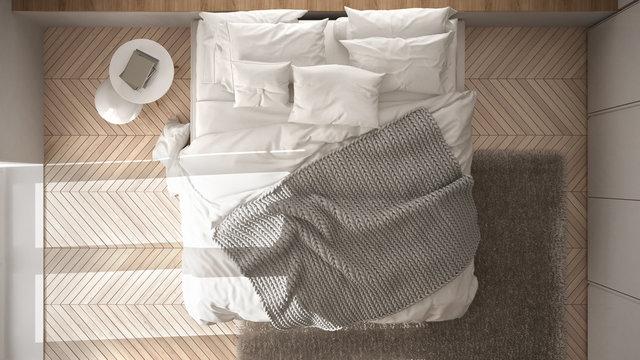 White minimalist bedroom with parquet floor, fur carpet and soft blanket, modern architecture interior design, top view