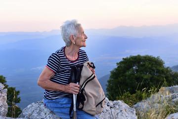 portrait of a senior woman hiker