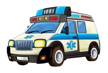 cartoon scene with ambulance truck on white background - illustration for children