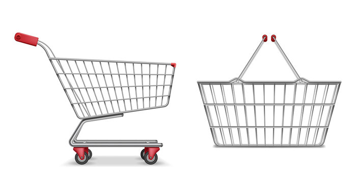 Empty metallic supermarket shopping cart side view isolated. Realistic supermarket basket, retail pushcart vector illustration