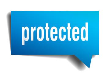 protected blue 3d speech bubble
