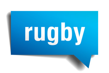 rugby blue 3d speech bubble