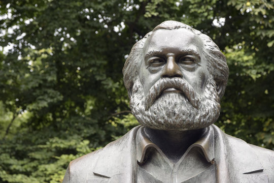 Karl Marx sculpture, detail of the monument in the Marx-Engels-Forum, a public park in the central Mitte district of Berlin, Germany
