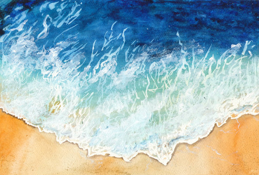Watercolor waves of the ocean at the shore. Seascape. Summer sea background for invitations, postcards.