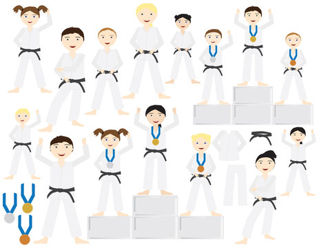 Group of people adults and kids with Judo uniforms and black belt different poses