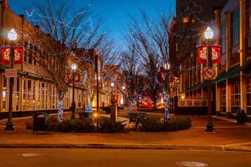 Poster de jardin Barcelone Downtown Kalamazoo Michigan on a winter evening