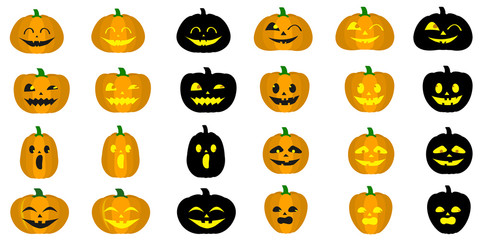 Mega set of different halloween pumpkins, funny faces in cartoon style. Autumn holidays. Vector illustration EPS10.