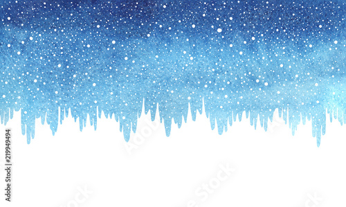 winter watercolor horizontal border gradient background with