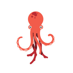 Red octopus isolated vector illustration on white background. Cute octopus vector. Marine life and animals concept. Cute sea monster, underwater predator.
