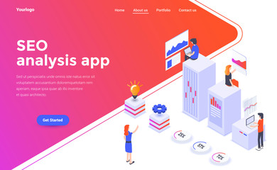 Flat color Modern Isometric Concept Illustration - Seo analysis app