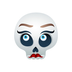 Funny skull vector illustration - beautiful lady.