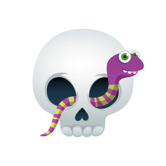 Funny skull with cute worm vector illustration.