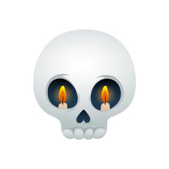 Funny skull vector illustration - eyes with candles.