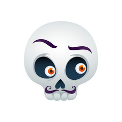 Funny skull vector illustration - man with mustaches.
