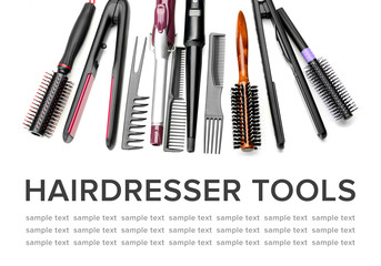Professional hairdresser's tools with place for text on white background