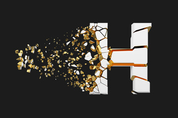 Broken shattered alphabet letter H uppercase. Crushed white and gold font. 3D render isolated on grey background.