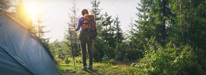 tourist girl on a mountain