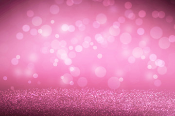 Pink Bokeh abstract light background and on the floor for romance or Valentine day wallpaper with copy space add text.