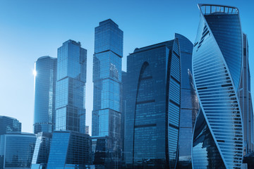 Skyscrapers in Moscow City, Russia. International business center in the daytime