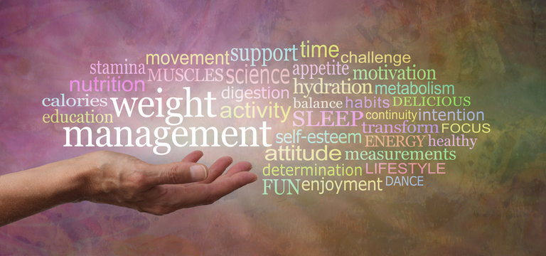 Words associated with Weight Management Tag Cloud - female hand with palm open and the words WEIGHT MANAGEMENT above surrounded by a multi coloured word cloud on a rustic warm stone background