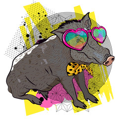 Boar realistic illustration. Comic vector sketch.