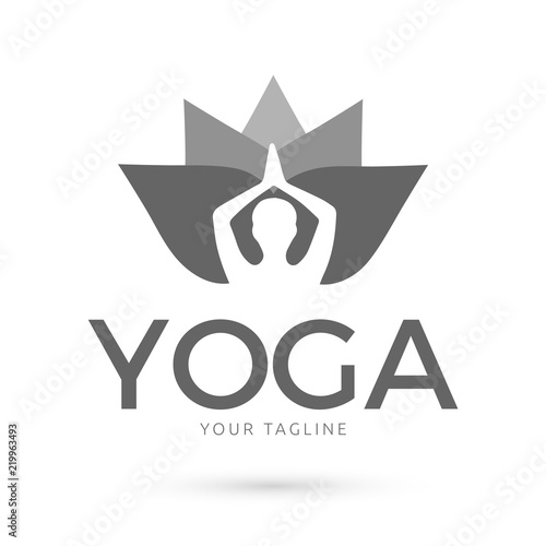 Yoga Pose In Lotus Flower Modern Gray Icon Design Stock Image And