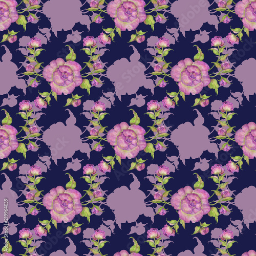Bouquet Of Flowers Of Purple Peonies Seamless Pattern Watercolor